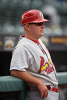 Palm Beach Cardinals coach Jason Broussard (35) during a Florida State League game against the Bradenton Marauders on May 10, 2019 at LECOM Park in Bradenton, Florida.  Bradenton defeated Palm Beach 5-1.  (Mike Janes/Four Seam Images)