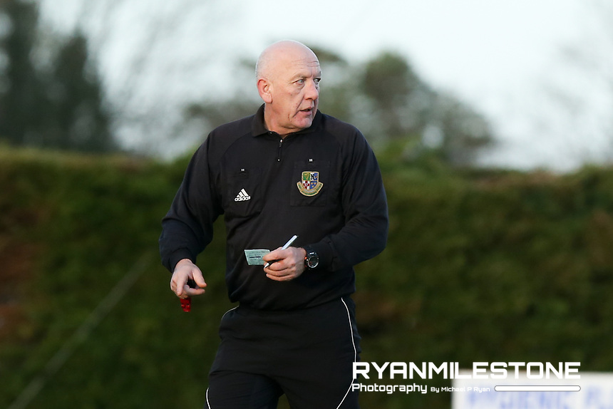 Referee Paddy Keane during the Tipperary Cup 1st Round game between Two Mile Borris and Clonmel Town  on Sunday 9th December 2018 at Newhill, Two Mile Borris Co Tipperary. Mandatory Credit: Michael P Ryan.