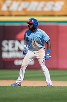 Buffalo Bisons Anthony Alford (26) leads off second base during an International League game against the Lehigh Valley IronPigs on June 9, 2019 at Sahlen Field in Buffalo, New York.  Lehigh Valley defeated Buffalo 7-6 in 11 innings.  (Mike Janes/Four Seam Images)