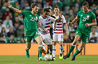 Dublin, Ireland - Saturday June 02, 2018: Harry Arter, Tyler Adams, Kevin Long during an international friendly match between the men's national teams of the United States (USA) and Republic of Ireland (IRE) at Aviva Stadium.