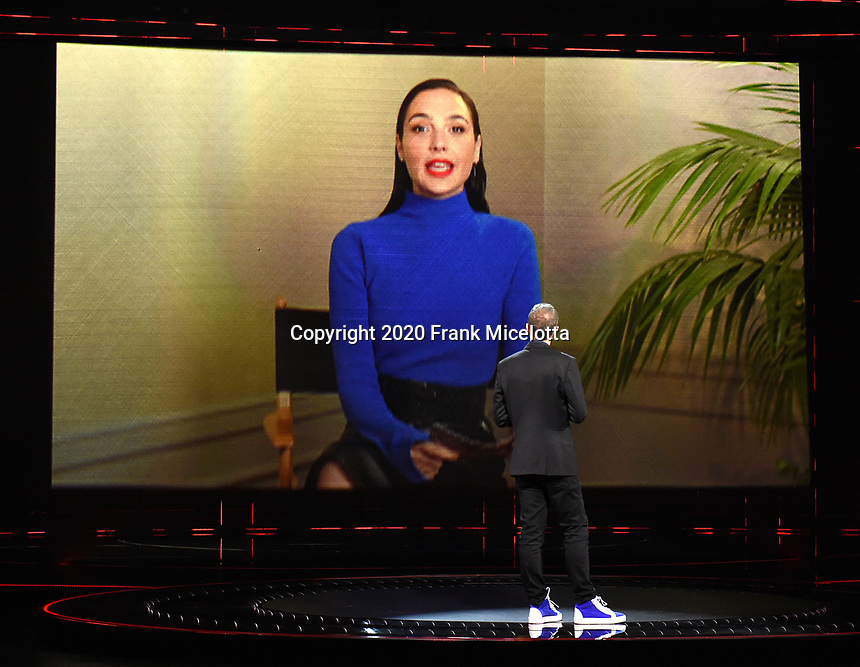 "HOLLYWOOD, CA - DECEMBER 10: Gal Gadot presents the Games for Impact award on ""The Game Awards 2020"" in Hollywood, California on December 10, 2020. (Photo by Frank Micelotta/PictureGroup)"