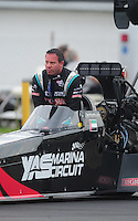 Sept. 4, 2011; Claremont, IN, USA: NHRA top fuel dragster driver Rod Fuller during qualifying for the US Nationals at Lucas Oil Raceway. Mandatory Credit: Mark J. Rebilas-