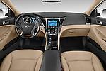 Stock photo of straight dashboard view of a 2015 Hyundai Sonata Hybrid Limited 4 Door Sedan Dashboard