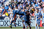 CD Leganes's Youssef En-Nesyri and Valencia CF' Jacundo Sebastian Roncaglia fight for the ball during La Liga match, Round 25 between CD Leganes and Valencia CF at Butarque Stadium in Leganes, Spain. February 24, 2019. (ALTERPHOTOS/A. Perez Meca)