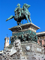 Statue of King Vittorio Emanuele II on horseback in the Piazza Duomo, Milan, Ital