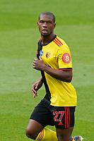 Christian Kabasele of Watford during the Premier League match between Watford and Manchester City at Vicarage Road, Watford, England on 21 July 2020. Football Stadiums around remain empty due to the Covid-19 Pandemic as Government social distancing laws prohibit supporters inside venues resulting in all fixtures being played behind closed doors until further notice.<br /> Photo by Andy Rowland.