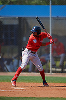 Boston Red Sox Kervin Suarez (16) bats during a Minor League Spring Training game against the Tampa Bay Rays on March 25, 2019 at the Charlotte County Sports Complex in Port Charlotte, Florida.  (Mike Janes/Four Seam Images)