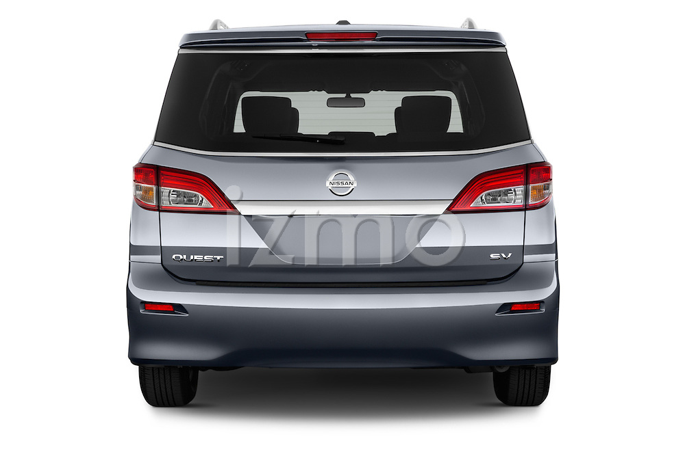 Straight rear view of2015 Nissan Quest SV 5 Door Minivan Rear View  stock images