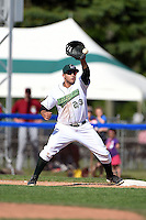 Jamestown Jammers third baseman Kevin Ross (23) takes a throw during a game against the Mahoning Valley Scrappers on June 15, 2014 at Russell Diethrick Park in Jamestown, New York.  Jamestown defeated Mahoning Valley 9-4.  (Mike Janes/Four Seam Images)