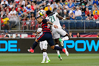 East Hartford, CT - Saturday July 01, 2017: Dom Dwyer, John Boye during an international friendly match between the men's national teams of the United States (USA) and Ghana (GHA) at Pratt & Whitney Stadium at Rentschler Field.