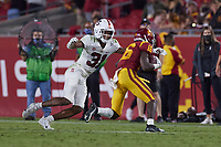 LOS ANGELES, CA - SEPTEMBER 11: Zahran Manley #31 of the Stanford Cardinal attempts to tackle Tahj Washington #16 of the USC Trojans during a game between University of Southern California and Stanford Football at Los Angeles Memorial Coliseum on September 11, 2021 in Los Angeles, California.