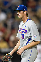 Florida Gators starting pitcher A.J. Puk (10) during the NCAA College baseball World Series against the Virginia Cavaliers on June 15, 2015 at TD Ameritrade Park in Omaha, Nebraska. Virginia defeated Florida 1-0. (Andrew Woolley/Four Seam Images)