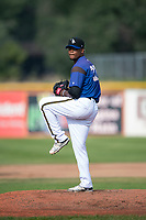 Missoula Osprey starting pitcher Deyni Olivero (37) delivers a pitch during a Pioneer League game against the Orem Owlz at Ogren Park Allegiance Field on August 19, 2018 in Missoula, Montana. The Missoula Osprey defeated the Orem Owlz by a score of 8-0. (Zachary Lucy/Four Seam Images)