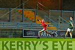 East Kerry's Kevin Bowler celebrates after scoring  his goal deep into extra time in the County Minor football final against St Brendans in Austin Stack Park on Wednesday evening