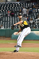 Dustin Richardson (53) of the Salt Lake Bees in action against the Las Vegas 51s at Smith's Ballpark on May 8, 2014 in Salt Lake City, Utah.  (Stephen Smith/Four Seam Images)