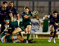 13th March 2021; Galway Sportsgrounds, Galway, Connacht, Ireland; Guinness Pro 14 Rugby, Connacht versus Edinburgh; Kieran Marmion plays the ball out for Connacht