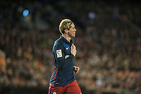 VALENCIA, SPAIN - MARCH 6: Fernando Torres celebrating his goal during BBVA League match between Valencia C.F. and Athletico de Madrid at Mestalla Stadium on March 6, 2015 in Valencia, Spain