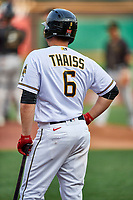 Matt Thaiss (6) of the Salt Lake Bees during the game against the Sacramento River Cats at Smith's Ballpark on August 16, 2021 in Salt Lake City, Utah. The Bees defeated the River Cats 6-0. (Stephen Smith/Four Seam Images)