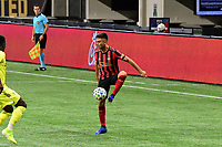 """ATLANTA, GA - AUGUST 22: Gonzalo """"Pity"""" Martinez traps the ball during a game between Nashville SC and Atlanta United FC at Mercedes-Benz Stadium on August 22, 2020 in Atlanta, Georgia."""