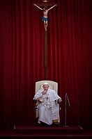 Pope Francis during of general audience in the San Damaso's courtyard in Vatican.June 16, 2021