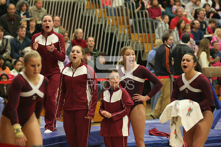 17 February 2006: Alex Pintchouk, Lauren Elmore, Stephanie Gentry, Nicole Ourada and Liz Tricase during Stanford's win over the University of Arizona at Burnham Pavilion in Stanford, CA.