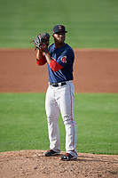 Salem Red Sox relief pitcher Yankory Pimentel (38) gets ready to deliver a pitch during the first game of a doubleheader against the Potomac Nationals on May 13, 2017 at G. Richard Pfitzner Stadium in Woodbridge, Virginia.  Potomac defeated Salem 6-0.  (Mike Janes/Four Seam Images)