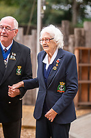 BNPS.co.uk (01202 558833)<br /> Pic: MaxWillcock/BNPS<br /> <br /> Pictured: The local Royal Naval Association Chairman Rick Squibb and Lorna Cockayne arrive at the ceremony.<br /> <br /> A brilliant Bletchley Park codebreaker who enabled the Allies to read crucial messages before Adolf Hitler received them has today been awarded the prestigious Legion d'Honneur.<br /> <br /> Lorna Cockayne, now aged 96, worked on the 'Colossus' computer which cracked the Lorenz code used by German generals to brief the Nazi leader.<br /> <br /> She fed in tape and counted letters to decipher intercepted messages for eight hours daily without a break as the giant machine never stopped.<br /> <br /> The intelligence she uncovered was particularly important in the lead-up to the D-Day landings in June 1944.