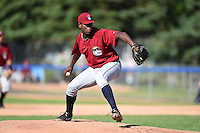 Mahoning Valley Scrappers pitcher Carlos Melo (48) delivers a pitch during a game against the Jamestown Jammers on June 15, 2014 at Russell Diethrick Park in Jamestown, New York.  Jamestown defeated Mahoning Valley 9-4.  (Mike Janes/Four Seam Images)