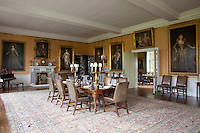 A dining room adjoins the smaller, less formal, breakfast room. As with all the other rooms, a multitude of 17th century royal and family portraits line the walls