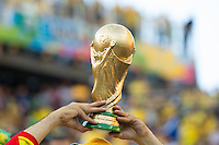 A fake trophy held in the air