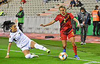 Albanian Mimoza Hamidi pictured in a duel with Davina Philtjens (2) of Belgium during a female soccer game between the national teams of Belgium , called the Red Flames and Albania in the second game in the qualification for the  FIFA Women's World Cup in group F , on tuesday 21 st of September 2021  in Brussels , Belgium . PHOTO SPORTPIX