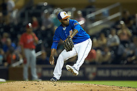Durham Bulls relief pitcher Luis Santos (27) in action against the Louisville Bats at Durham Bulls Athletic Park on May 28, 2019 in Durham, North Carolina. The Bulls defeated the Bats 18-3. (Brian Westerholt/Four Seam Images)