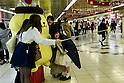 Cute and Cuddly Pom Pom Purin dolls invade Tokyo's Shinjuku Station