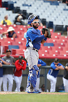 Julian Leon (43) of the Rancho Cucamonga Quakes in the field at catcher during a game against the High Desert Mavericks at Heritage Field on May 8, 2016 in Adelanto, California. Rancho Cucamonga defeated High Desert, 11-5. (Larry Goren/Four Seam Images)