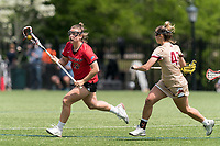 NEWTON, MA - MAY 14: Meaghan Graham #19 of Fairfield University brings the ball forward during NCAA Division I Women's Lacrosse Tournament first round game between Fairfield University and Boston College at Newton Campus Lacrosse Field on May 14, 2021 in Newton, Massachusetts.