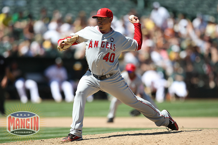 OAKLAND, CA - JULY 19:  Brian Fuentes #40 of the Los Angeles Angels of Anaheim pitches against the Oakland Athletics during the game at the Oakland-Alameda County Coliseum on July 19, 2009 in Oakland, California. Photo by Brad Mangin