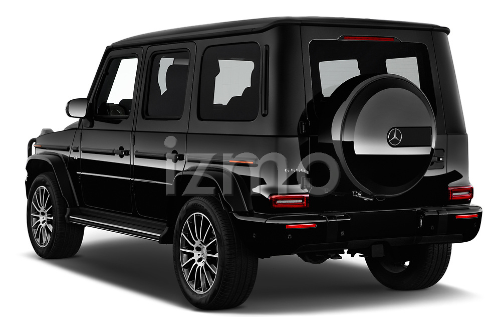 Car pictures of rear three quarter view of 2019 Mercedes Benz G-Class G-550 5 Door SUV Angular Rear