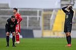 v.li.: Marlon Ritter (Kaiserslautern, 7) Nicolas Kühn (Bayern München, FCB, 11) Hendrick Zuck (Kaiserslautern, 21) nach Spielende enttäuscht schauend, Enttäuschung, Frustration, disappointed, pessimistisch beim Spiel in der 3. Liga, FC Bayern München II -1. FC Kaiserslautern.<br /> <br /> Foto © PIX-Sportfotos *** Foto ist honorarpflichtig! *** Auf Anfrage in hoeherer Qualitaet/Aufloesung. Belegexemplar erbeten. Veroeffentlichung ausschliesslich fuer journalistisch-publizistische Zwecke. For editorial use only. DFL regulations prohibit any use of photographs as image sequences and/or quasi-video.