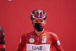 Race leader Tadej Pogacar (SLO) UAE Team Emirates at sign on before the start of Stage 5 of the 2021 UAE Tour running 170km from Fujairah to Jebel Jais, Fujairah, UAE. 25th February 2021.  <br /> Picture: Eoin Clarke   Cyclefile<br /> <br /> All photos usage must carry mandatory copyright credit (© Cyclefile   Eoin Clarke)