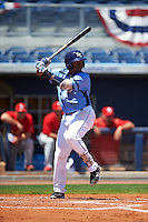 Charlotte Stone Crabs third baseman Cristian Toribio (16) at bat during a game against the Palm Beach Cardinals on April 10, 2016 at Charlotte Sports Park in Port Charlotte, Florida.  Palm Beach defeated Charlotte 4-1.  (Mike Janes/Four Seam Images)