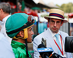 Proctor's Ledge  (no. 8) wins the Grade III 2017 Lake George Stakes  for three year old fillies on July 21 at Saratoga Race Course, Saratoga Springs, NY.  On the opening day of the Saratoga meet, the winner was ridden by Javier Castellano and trained by Brendan Walsh.  (Bruce Dudek/Eclipse Sportswire)