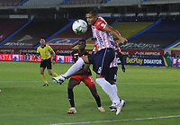 BARRANQUILLA - COLOMBIA, 30-01-2021:Larry Vásquez del Junior.Atlético Junior y América de Cali en partido por la fecha 3 como parte de la Liga BetPlay DIMAYOR 2021 jugado en el Metropolitano Roberto Meléndez  de la ciudad de Barranquilla. /Larry Vasquez player of Junior.Atletico Junior and America de Cali in match for the date 3 as part of the BetPlay DIMAYOR League I 2021 played at Metropolitano Roberto Meléndez  stadium in Barranquilla city. Photo: VizzorImage / Jesus Rico/ Contribuidor