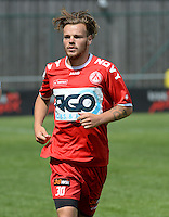 20150627 - Lauwe , BELGIUM : Kortrijk's Kristof D'Haene pictured during a friendly match between Belgian first division team KV Kortrijk and Belgian third division soccer team FC Izegem , during the preparations for the 2015-2016 season, Saturday 27th June 2015 in Lauwe. PHOTO DAVID CATRY