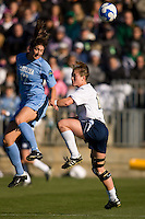 North Carolina Tar Heels midfielder Yael Averbuch (17) and Notre Dame Fighting Irish midfielder Brittany Bock (10). The North Carolina Tar Heels defeated the Notre Dame Fighting Irish 2-1 during the finals of the NCAA Women's College Cup at Wakemed Soccer Park in Cary, NC, on December 7, 2008. Photo by Howard C. Smith/isiphotos.com