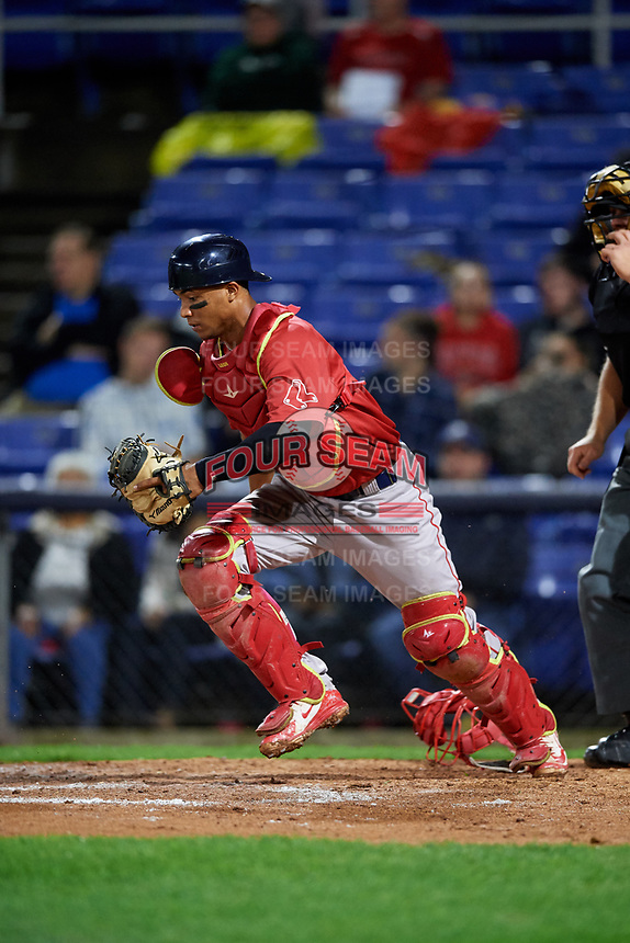 Portland Sea Dogs catcher Jhon Nunez (20) tracks down a loose ball during a game against the Binghamton Rumble Ponies on August 31, 2018 at NYSEG Stadium in Binghamton, New York.  Portland defeated Binghamton 4-1.  (Mike Janes/Four Seam Images)