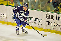 4 January 2014:  Yale University Bulldog defenseman Mitch Witek, a Sophomore from Downers Grove, IL, in third period action against the University of Vermont Catamounts at Gutterson Fieldhouse in Burlington, Vermont. With an empty net and seconds remaining, the Cats came back to tie the game 3-3 against the 10th seeded Bulldogs. Mandatory Credit: Ed Wolfstein Photo *** RAW (NEF) Image File Available ***