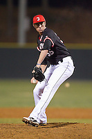 Davidson Wildcats relief pitcher Matt Saeta (35) in action against the Wake Forest Demon Deacons at Wilson Field on March 19, 2014 in Davidson, North Carolina.  The Wildcats defeated the Demon Deacons 7-6.  (Brian Westerholt/Four Seam Images)