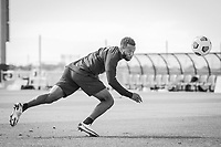 BRADENTON, FL - JANUARY 21: Kellyn Acosta heads the ball during a training session at IMG Academy on January 21, 2021 in Bradenton, Florida.