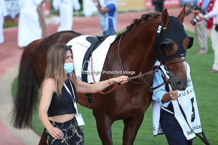 March 27 2021: DERYAN (FR) #5, in the post parade for the Dubai Kahayla Classic at Meydan Racecourse, Dubai, UAE. Shamela Hanley/Eclipse Sportswire/CSM