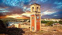 Clock tower of The old citadel [ ?????? ??????? ] Corfu City, Greek Ionian Islands